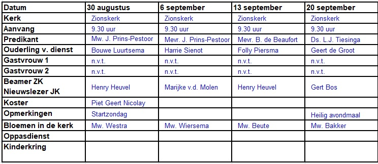 Rooster tm 20 september